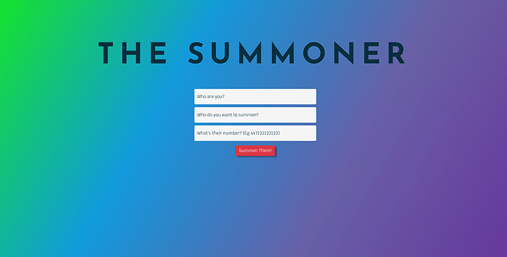 The Summoner Landing Page. AWS Send a Text Message from a Website